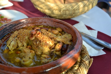 Chicken Tajine with plums and roasted almonds at La Table de Marrakech
